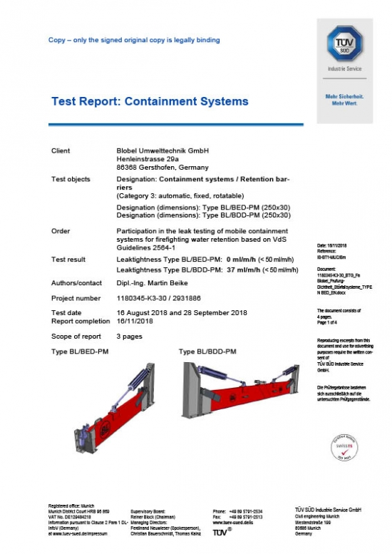 Latest TÜV certificates for BLOBEL Accident Barriers